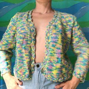 VINTAGE pastel space dye cardigan knit sweater